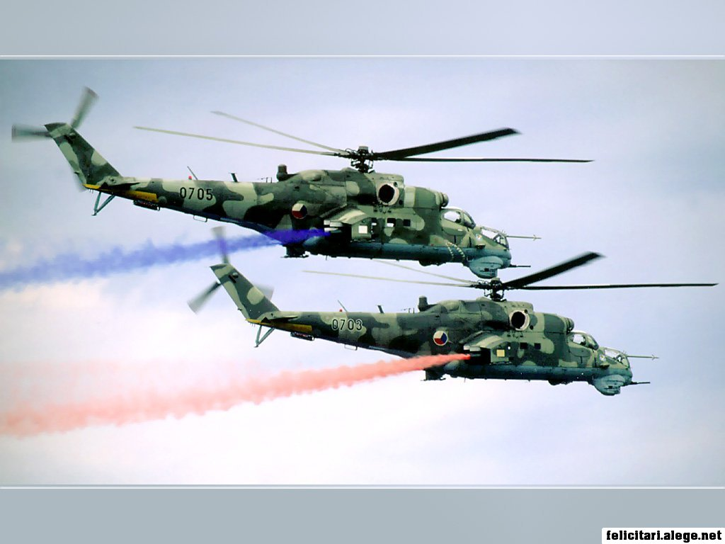 Mi24 Helicopter Formation Flight