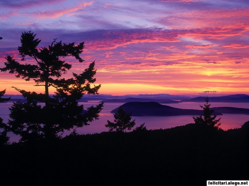 San Juan Islands At Sunset Puget Sound Washington