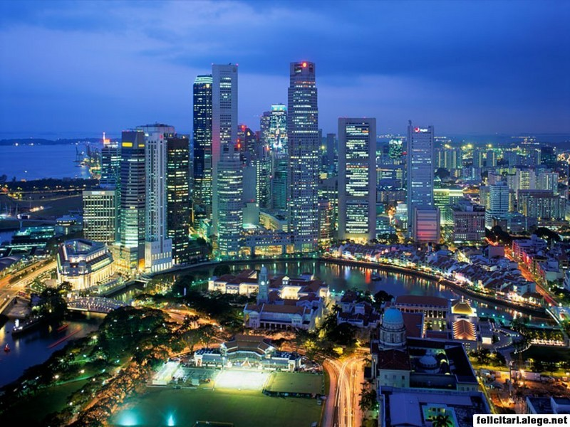 Aerial View Singapore City Singapore